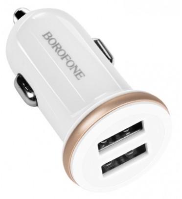 Адаптер питания автомобильный BOROFONE BZ5, 2 USB порта белый (82958)