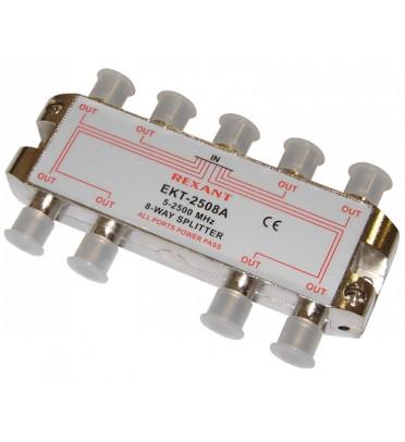 ДЕЛИТЕЛЬ  ТВ  х 8 под F разъём 5-2500 МГц