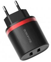 Адаптер питания сетевой BOROFONE BA7A без шнурка 2 USB порта черный (84136)