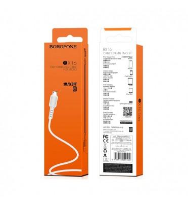 Шнур зарядки BOROFONE BX16 microUSB белый (99482)