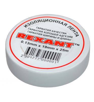 Изолента 19мм х 25м белая  REXANT,09-2201