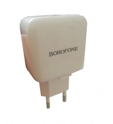 Адаптер питания сетевой BOROFONE BA18 без шнурка 2 USB порта белый (95705)
