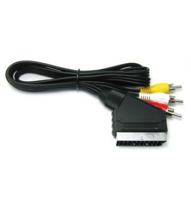 Шнур SCART - 3 RCA  1.2М с переключателем, круглый кабель