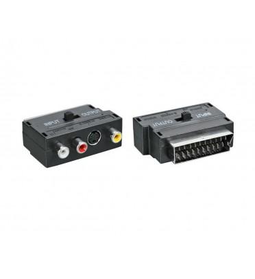 Переходник  SCART - 3гн.RCA + гн.SVHS  (с переключателем)  REXANT 17-1051
